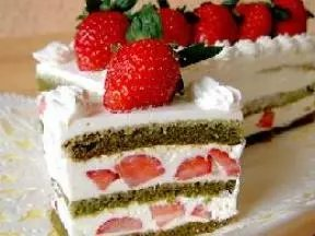 素食綠茶草莓糕
