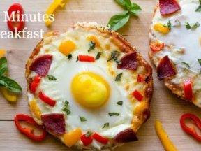自製10分鐘營養早餐——起司貝果Pizza